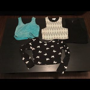 Lot of four Forever 21 crop tops size medium